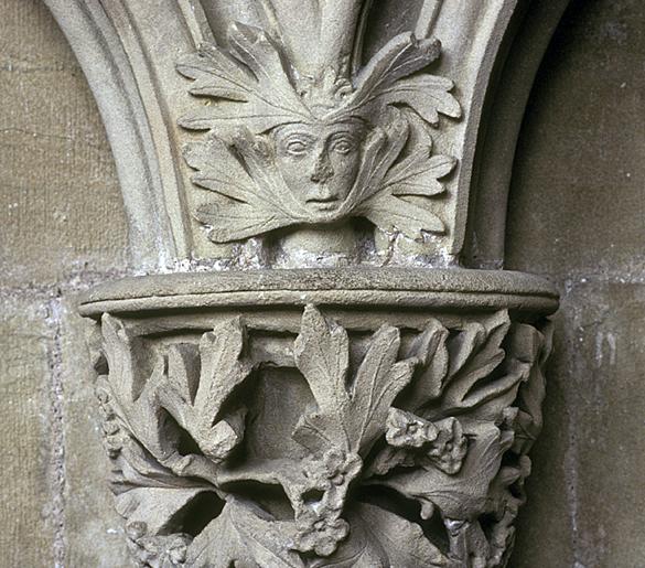 Foliate mask at Southwell Minster, ca. 1290.