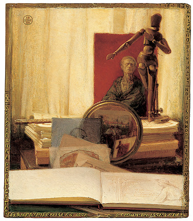 Ozias Leduc, Still Life with Lay Figure, 1898. Oil on cardboard. The Montreal Museum of Fine Arts. Gift of the Succession J.A. DeSève. Photo MMFA.