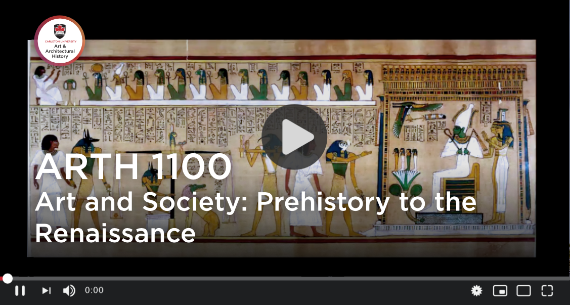 Link to video file. Image depicts PowerPoint title slide for ARTH 111 Art and Society: Prehistory to the Renaissance