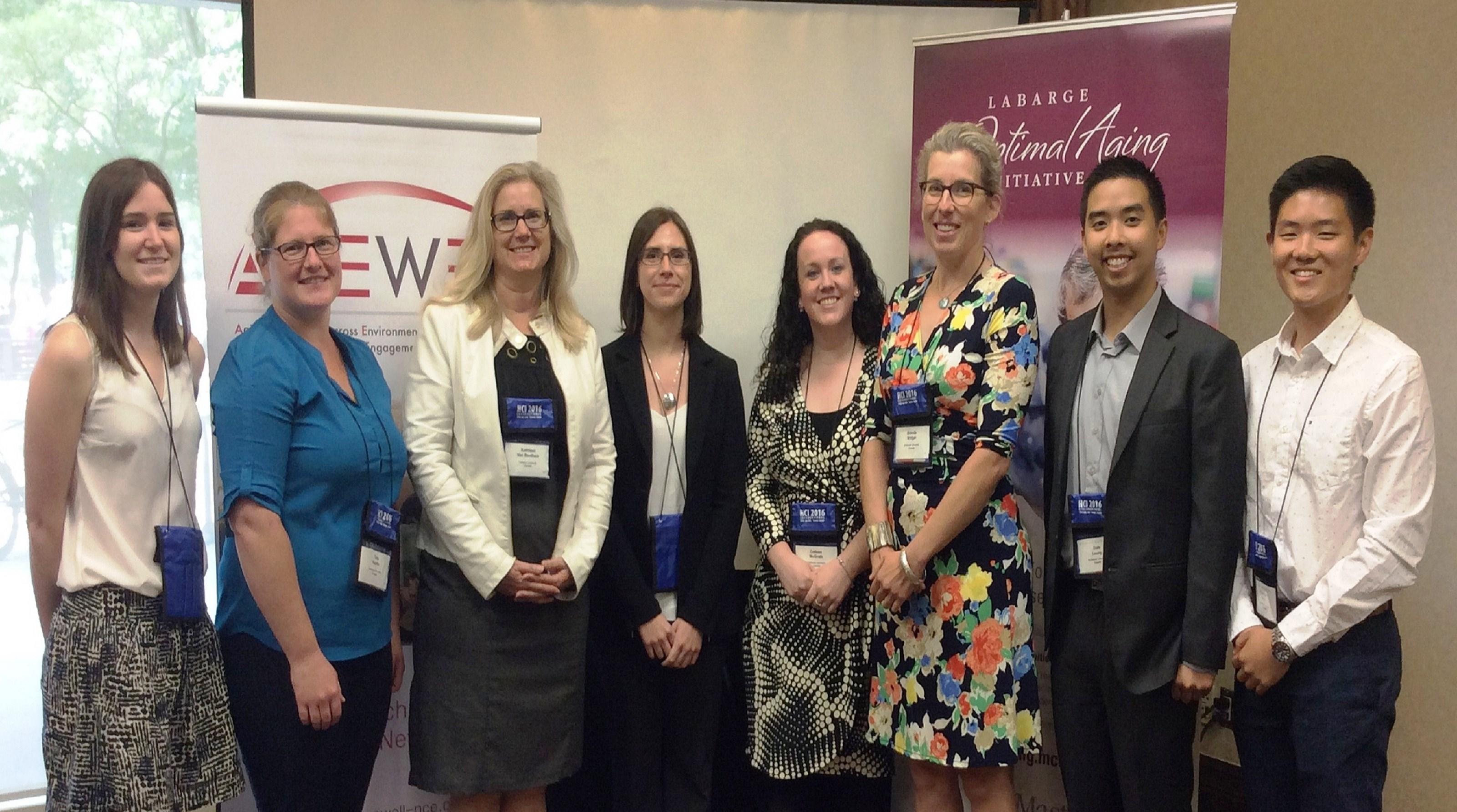 From left to right - Genevieve Foley (UofT), Tara Kajaks (Toronto Rehab Institute), Kathleen Van Benthem (Carleton University), Alexandra Mueller (McMaster University), Colleen McGrath (Ontario Shores), and Brenda Vrkljan, Dale Leung and Kyung Mun (McMaster University)