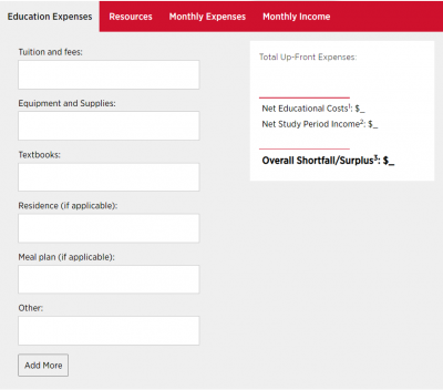 Image of the budget calculator tool showing education expenses, resources, monthly expenses and monthly income for students