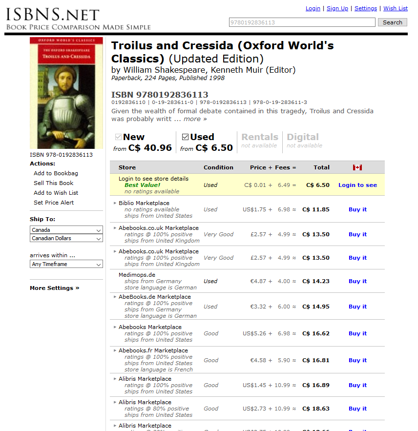 A screenshot of search ISBNS.net's results page.