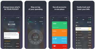 """Screenshot from the Pocket Guard app. Accompanying text says """"Always know what's IN YOUR POCKET, Stay on top of your spending, See all accounts from one place, Easily track and lower your bills."""""""