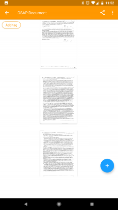 Image shows a screenshot of the Genius Scan app for how documents with multiple pages look like on the app.