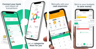 """Image of multiple screenshots from the Spendee app. Accompanying text reads """"connect your bank and import all transactions, Let us categorize them for you, Manually add your cash expenses, Stick to your budgets to save money."""""""
