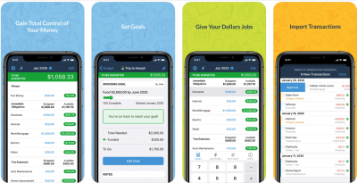 """Screenshot of You Need A Budget's app. Accompanying text """"Gain Total Control of Your Money, Set Goals, Give Your Dollars Jobs, Import Transactions"""""""