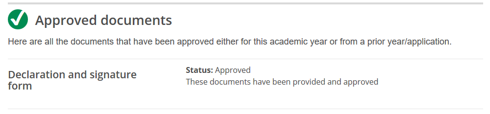 screenshot of OSAP account approved documents section