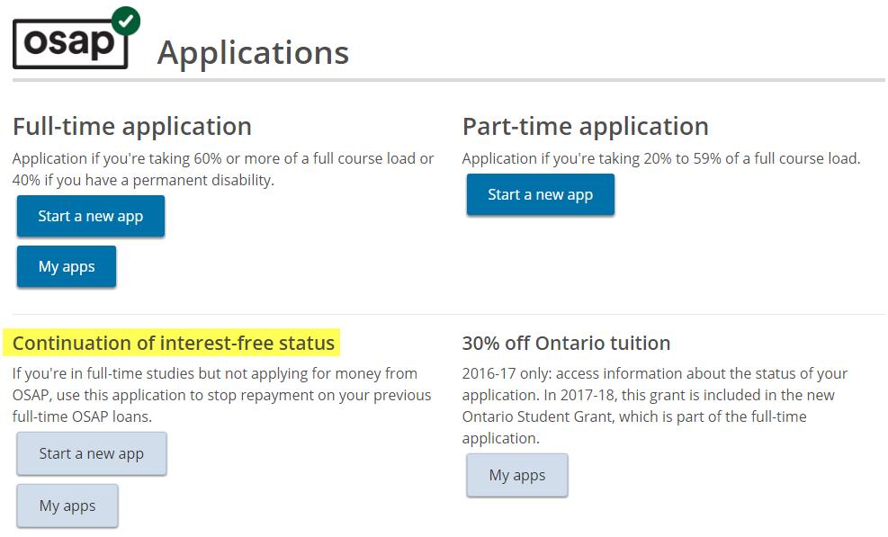 Interest-Free Status Application