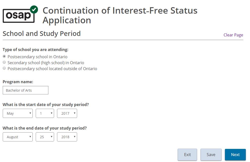 Interest-Free Status Application Screenshot