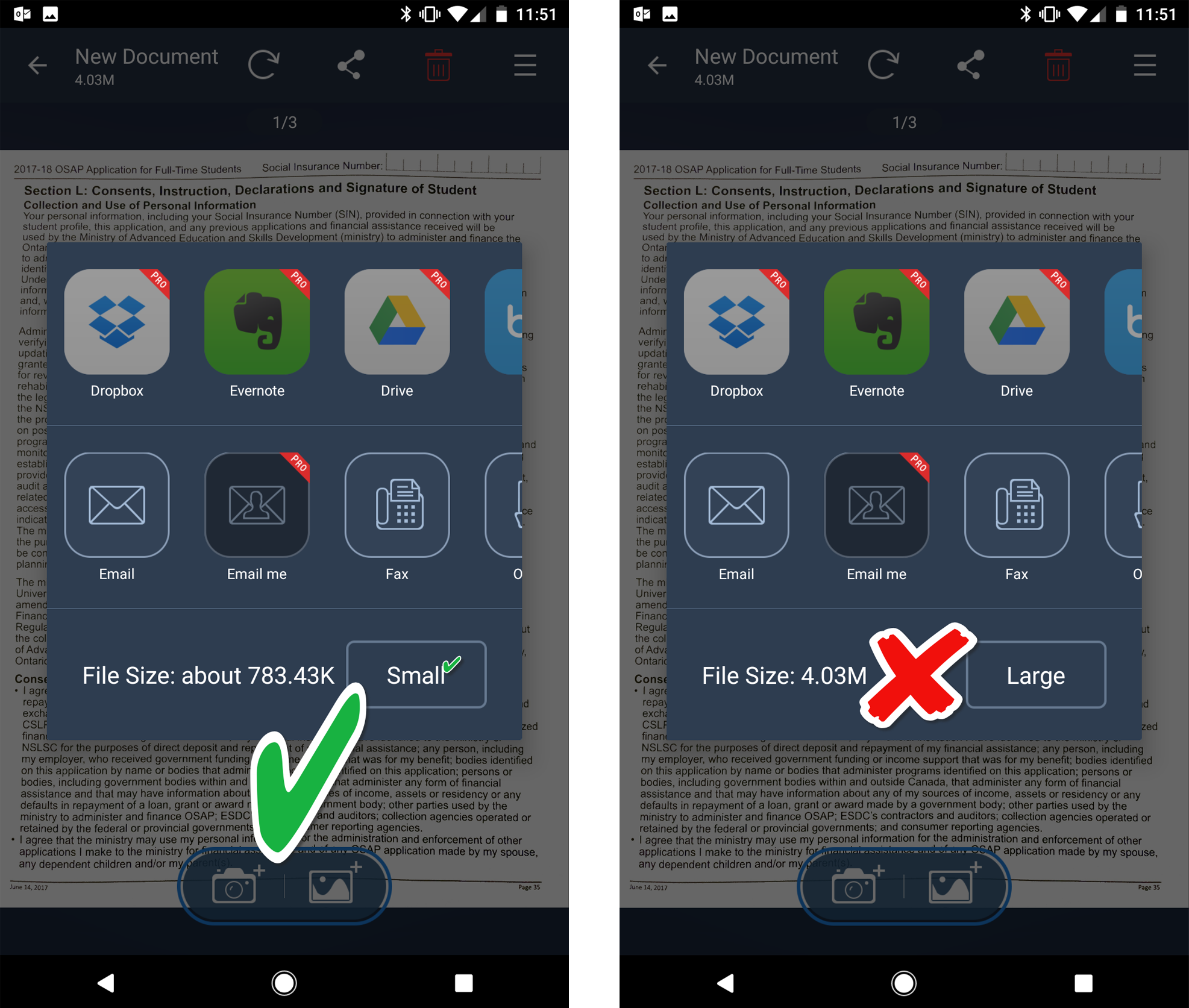 two screenshots of tiny scanner app showing small and large file size options