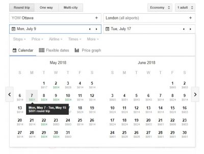 Screenshot of Google Flight's price graph calendar.