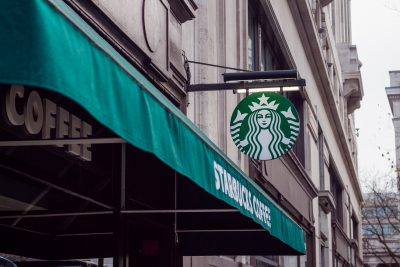 Starbucks outdoor sign and awning