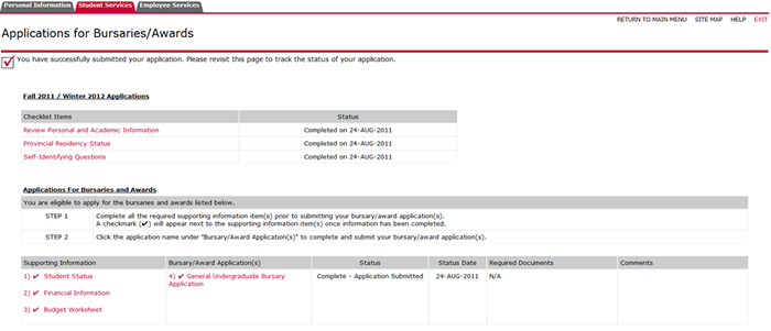 screenshot of carleton central submit bursary application
