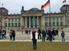 Image of student in front of a German University while on a Letter of Permission