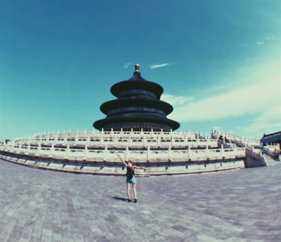 Image of student and architecture in China while on an International Placement