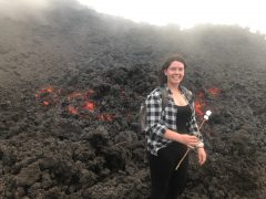 Image of student visiting a live volcano in Guatemala while on an International Placement