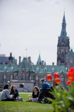 Carleton students on Parliament Hill.