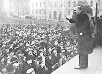 Famed biologist J.B.S. Haldane addresses a crowd in London.