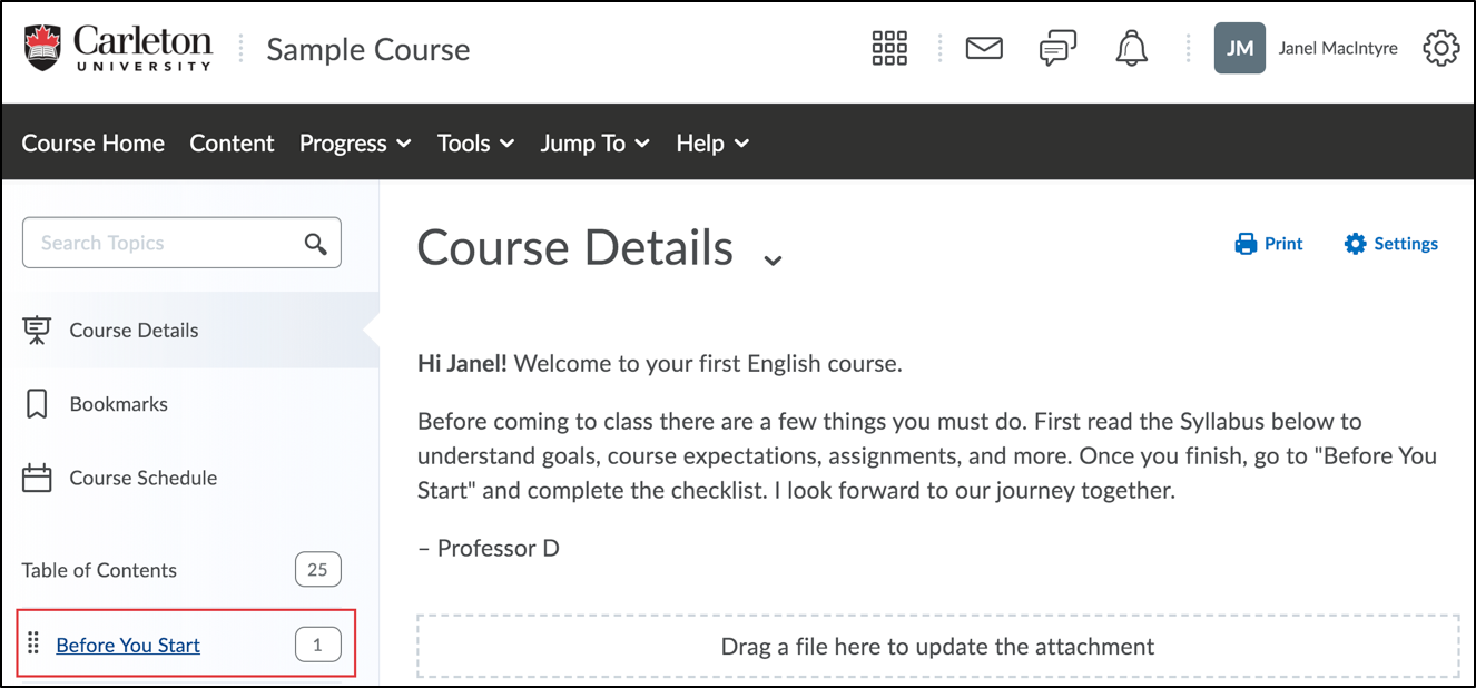 example of a module in the content section of a Brightspace course page