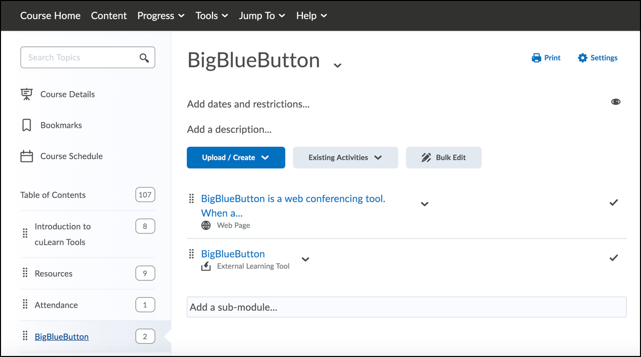 BigBlueButton Tool in Brightspace