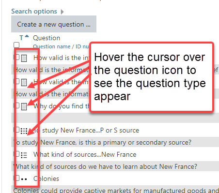 a list of questions in the cuLearn question bank. Each question type has a specific icon that illustrates the question type.