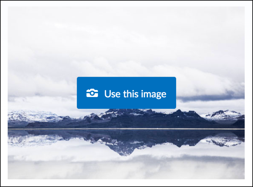 """Example of """"use this image"""" button on a banner image"""