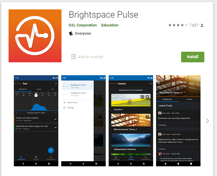 Brightspace Pulse App icon and preview of screens within the app