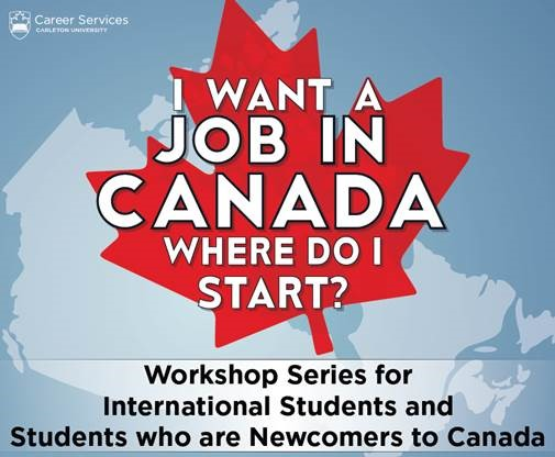 Workshop icon that reads I want a job in Canada. Where do I start? Workshop series for international students and students who are newcomers to Canada.