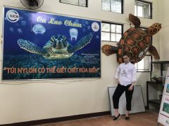 Photo of Morgan Marta, a BGInS student in her workplace in Vietnam, during the summer of 2018. Morgan completed her internship with Cu Lao Cham - Hoi An Biosphere Reserve.