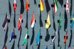Large group of international flags photographed from above