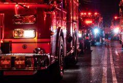 Energency firetrucks lined up