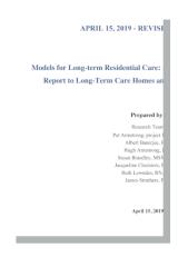 Cover for Models for Long-term Residential Care
