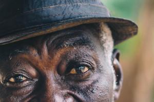 Detail of senior man's face