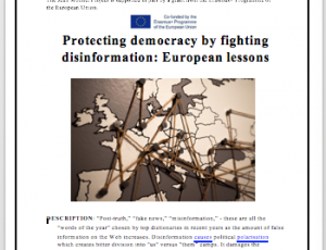 "View Quicklink: New lesson ""Protecting democracy by fighting disinformation: European lessons"""