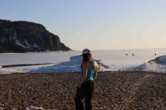 Ariel at frozen lake