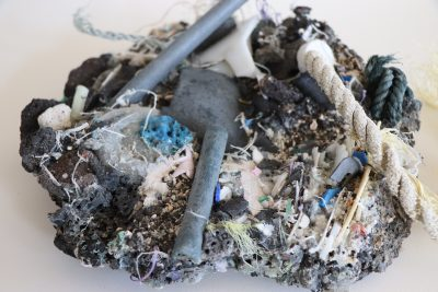 """Plastiglomerate sample"" from Cindy Stelmackowich's ""Plastic Planet"" exhibit"