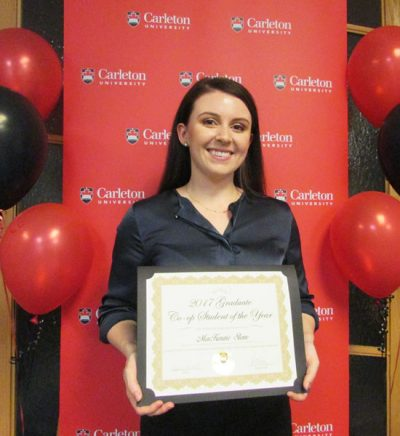 2017 Graduate Co-op Student of the Year, MacKenzie Stone, poses with her certificate.