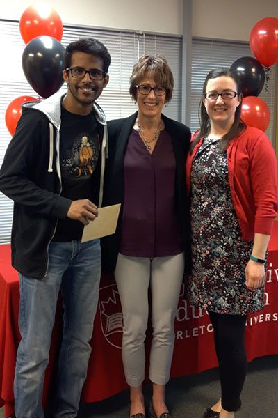 Honourable Mention for Co-op Student of the Year, Arun Galva, with Kathleen Hickey, Manager of Co-operative Education, and Amanda Hodgson, Galva's Co-op Student Advisor.