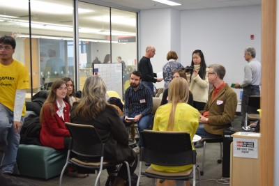 Event attendees develop important connections during small group networking sessions at Carleton's Community Engagement event.