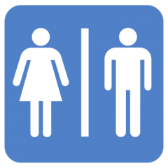 Blue and white bathroom sign depicting female and male stick figures separated by a vertical straight line.