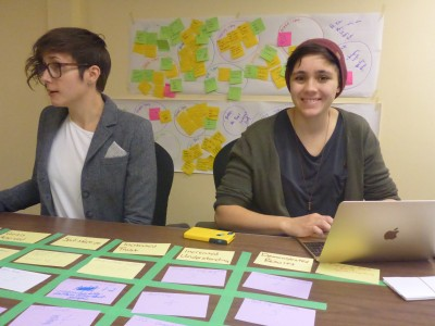 Brianna Salmon, Peterborough GreenUp, and Tessa Nasca, CFICE RA, work with the feedback provided at the ANC-CFICE focus group.