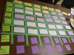 A series of different coloured cue cards are laid out in a green-taped grid on a brown wooden table.