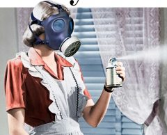 Woman with air freshener and a gas mask