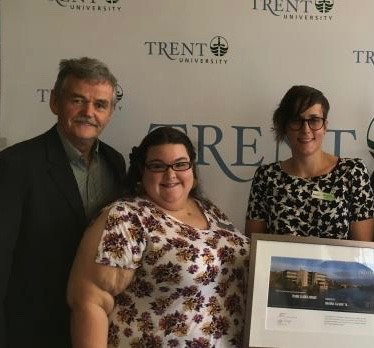 Image of Trent University President Leo Groarke, Trent Alumni President Jess Grover, and Executive Director GreenUP Brianna Salmon – Leader Award Recipient