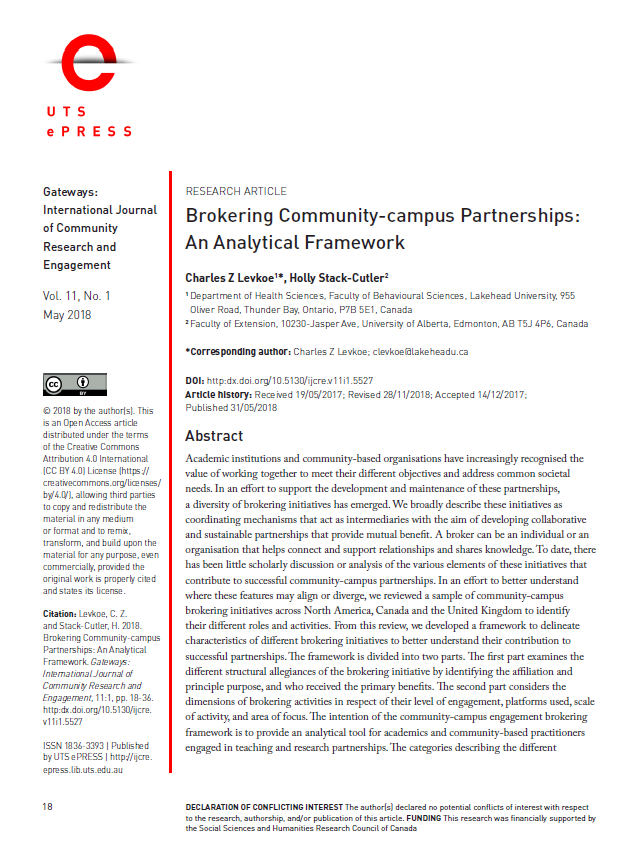Front page with the article's abstract, of a journal article on brokering.