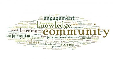 "A text-based word bubble containing an assortment of words related to CCE such as ""knowledge, community, engagement, perspectives, etc."""