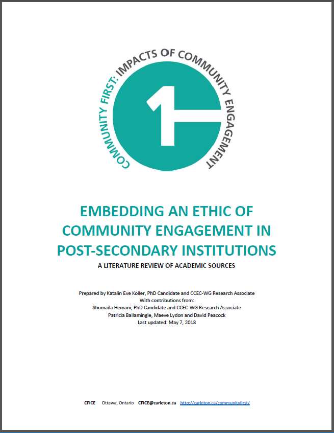 Title page of the report: Embedding an Ethic of Community Engagement in Post-Secondary Institutions: A review of Literature.