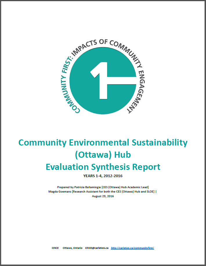 """Title page of the """"Community Environmental Sustainability (Ottawa) Hub Evaluation Synthesis Report""""."""