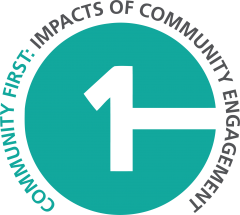 Community First: Impacts of Community Engagement turquoise logo with grey text.