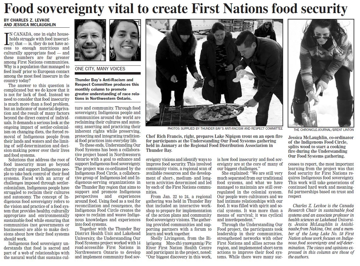 "Newspaper article ""Food Sovereignty Vital to create First Nations food security""."